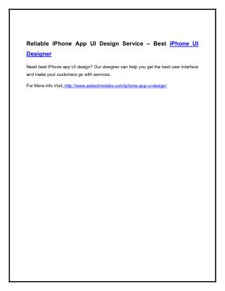 Reliable iPhone App UI Design Service – Best iPhone UI Designer
