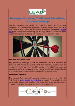 Strategies For Using Traditional Advertising To Your Advantage