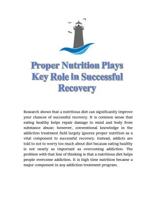 Proper Nutrition Plays Key Role in Successful Recovery