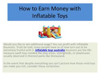 How to Earn Money with Inflatable Toys
