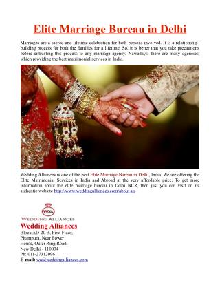 Elite Marriage Bureau in Delhi