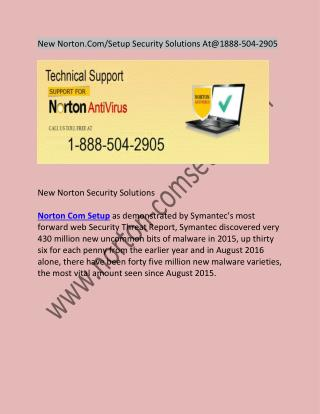 New Norton.Com/Setup Security Solutions At@1888-504-2905