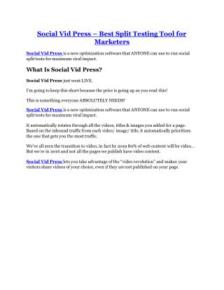 Social Vid Press review and (Free) $21,400 Bonus & Discount