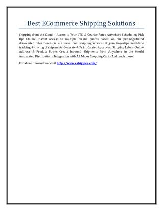 Best ECommerce Shipping Solutions