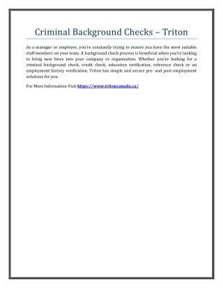 Criminal Background Checks – Triton