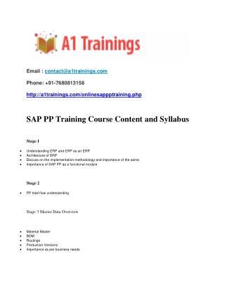 sap pp online training - course content