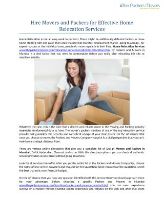 Hire Movers and Packers for Effective Home Relocation Services!