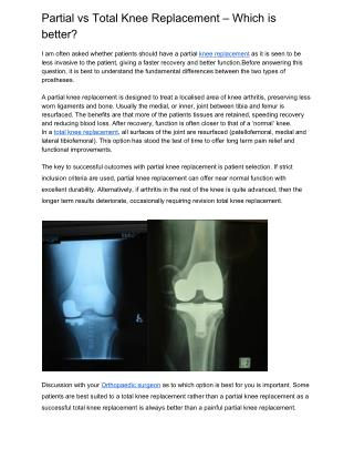Partial vs total knee replacement – which is better