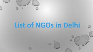 List Of NGOs In Delhi