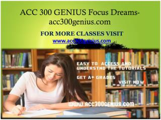 ACC 300 GENIUS Focus Dreams - acc300genius.com