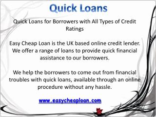 Quick loans for bad credit people | Easy Cheap Loan