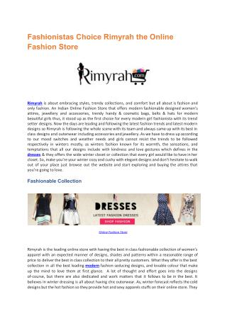 Fashionistas Choice Rimyrah the Online Fashion Store
