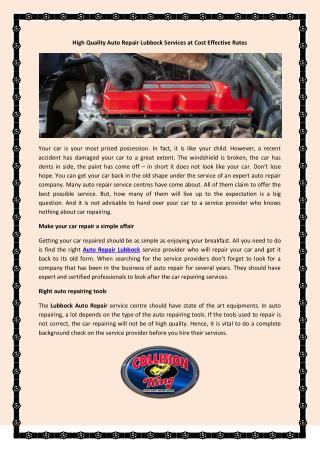 Auto Repair Lubbock