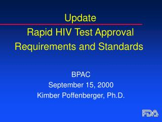Update  Rapid HIV Test Approval Requirements and Standards