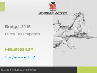 Budget 2016 proposals on direct taxes - NCLT