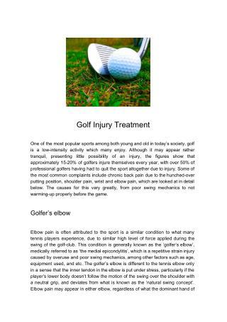 Golf Injury Treatment