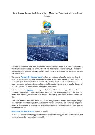 Solar Energy Companies Brisbane- Save Money on Your Electricity with Solar Energy
