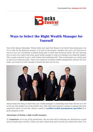 The Right Wealth Manager for Yourself
