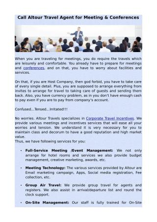 Call Altour Travel Agent for Meeting & Conferences