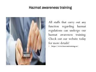 Hazmat awareness training