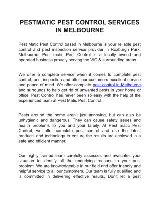PESTMATIC PEST CONTROL SERVICES IN MELBOURNE