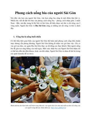 Kham Pha Phong Cach Uong Bia Cua Nguoi Sai Gon
