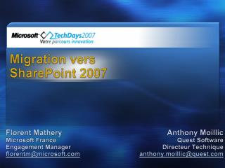 Migration vers  SharePoint 2007