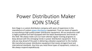 power distribution box manufacturer