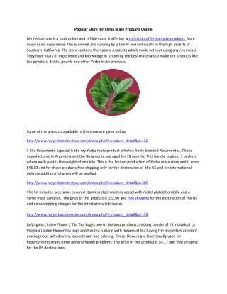 Popular Store for Yerba Mate ProductsOnline