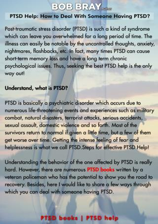 PTSD Help: How to Deal With Someone Having PTSD?
