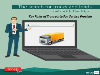 Key Roles of Transportation Service Provider