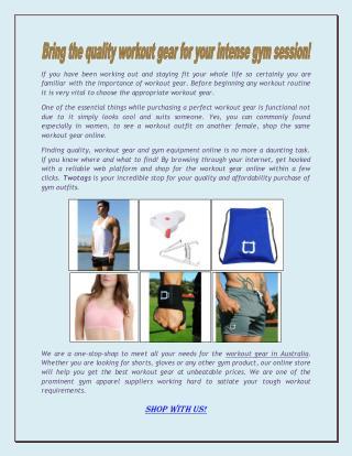 Shop Workout Gear Online Australia