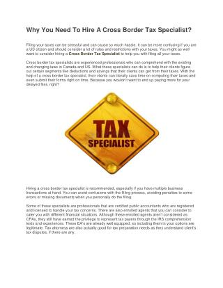 Why You Need To Hire A Cross Border Tax Specialist?