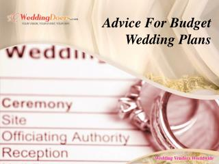 Advice For Budget Wedding Plans