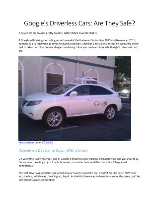 Google's driverless cars are they safe