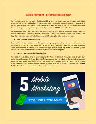 5 Mobile Marketing Tips for the Holiday Season