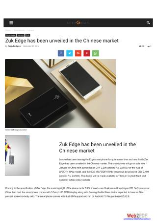 Zuk Edge has been unveiled in the Chinese market