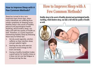 How to Improve Sleep with A Few Common Methods?