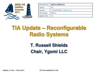 TIA Update   Reconfigurable Radio Systems