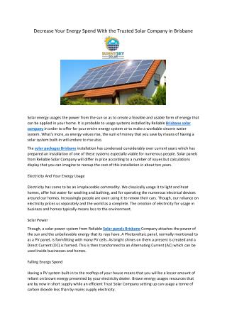 Decrease Your Energy Spend With the Trusted Solar Company in Brisbane