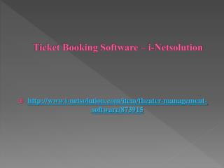 Ticket Booking Software – i-Netsolution