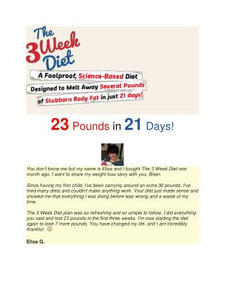 3 Week Diet Plan to reduce 23 Pounds