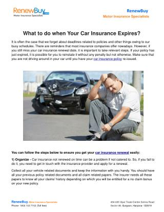What to do when Your Car Insurance Expires?