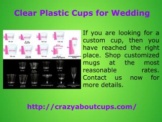 Clear Plastic Cups for Wedding