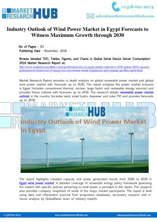 Egypt Wind Power Market Growth and Outlook Report 2016