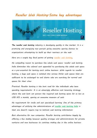 Reseller Web Hosting-Some key advantages