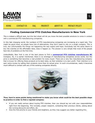 Provider of Replacement PTO Clutch on NC