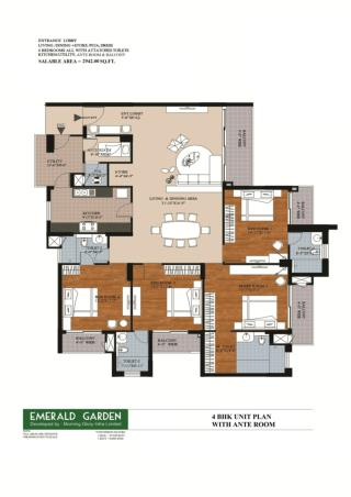 4 BHK Unite Plan With Ante Room