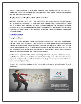 Mistakes to Avoid When Day Trading | Dhanashri Academy