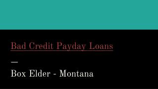 Bad Credit Payday Loans in Box Elder